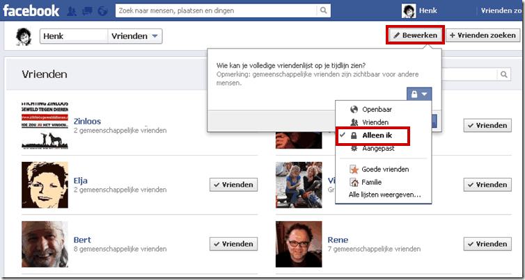 facebook vrienden verbergen voor andere facebook gebruikers