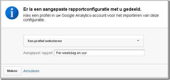 Google Analytics extern aangepast rapport weekdag inlezen