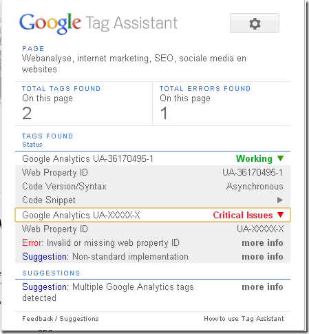 Chrome tag assistant