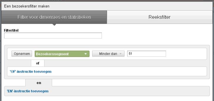 Google analytics remarketing dimensie filter bezoekerssegement