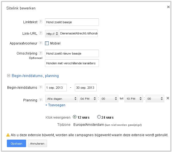 Adwords Sitelink aanmaken of wijzigen