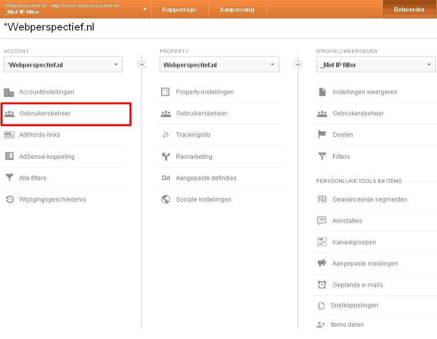 Gebruiker toevoegen in Google Analytics 1