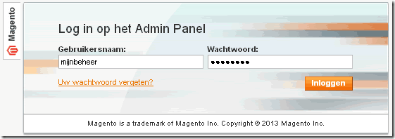 Log in op Magento Admin panel