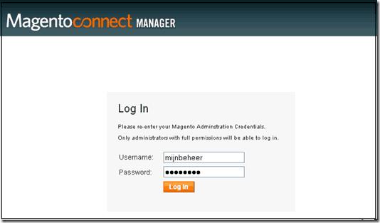 extensie installeren,  inloggen op connect manager