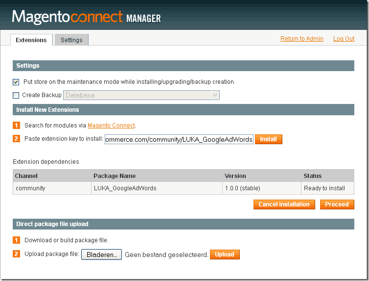 magento-extensie-installeren connect manager