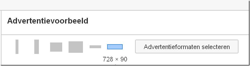Display netwerk Advertentie formaalt selecteren