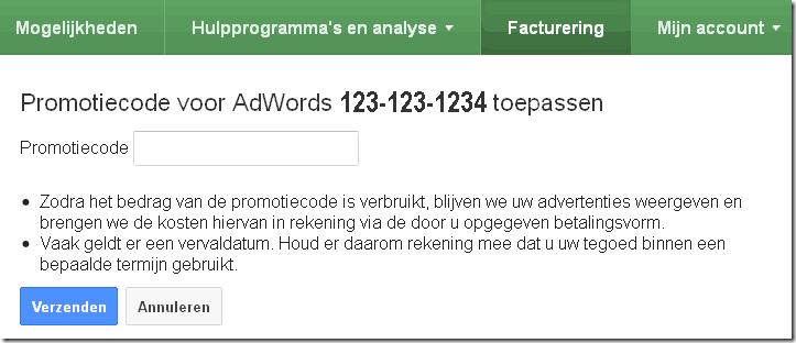 Google Adwords promotiecode invoeren-knop invoervak