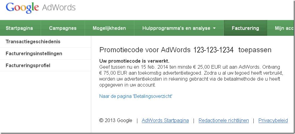 Google Adwords promotiecode ivoorwaarden advertentietegoed