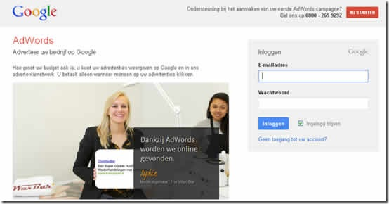 1Adwords registreren met Google account