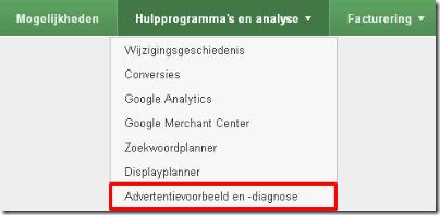 adwords menu advertentievoorbeeld en diagnose