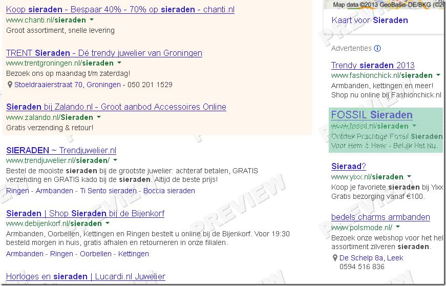 Voorbeeld getoonde advertentie groen gemarkeerd