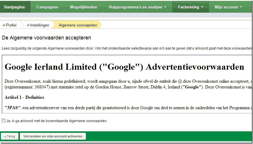 Googl voorwaarden accepteren-Adwords account activeren
