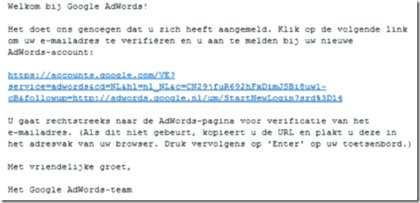 mail bevestiging Adwords