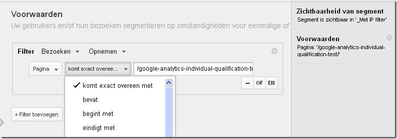 segmenteren op pagina in Google Analytics