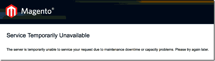 Erro -503 magento Service Temporarily Unavailable