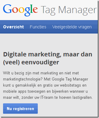 Google Tag Manager registreren