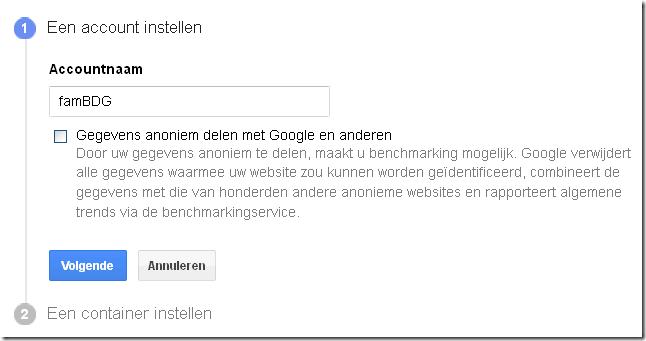 Google Tag Manager bedrijfs account aanmaken