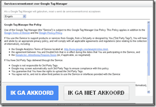Google Tag Manager serviceovereenkomst akkoord