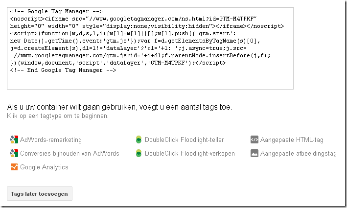 Google Tag Manager tracking code - container aangemaakt