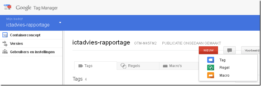 google tagmanager menu tag-regel-macro