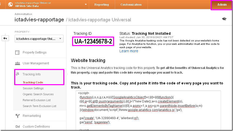 google tagmanager account GA tracking code UA nummer