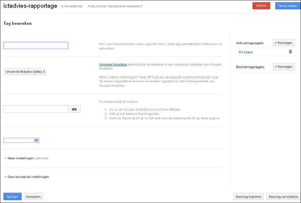 Google tag Manager Google Analytics tag klaar
