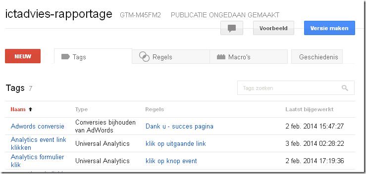 Google Tag Manager Versie maken