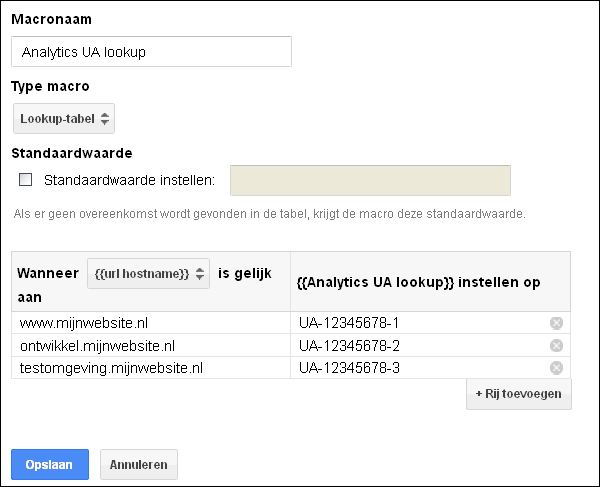 Google Tag Manager lookup table UA nummer