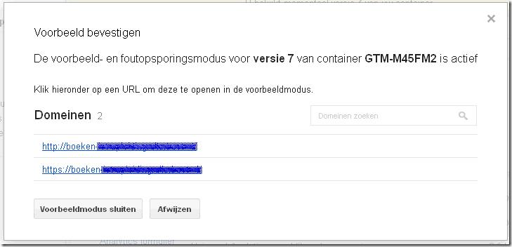 02- Google Tag Manager voorbeeld modus bevestigen