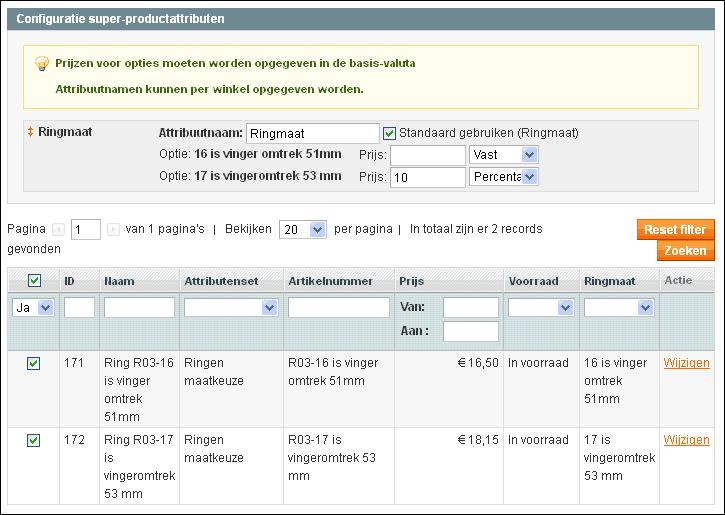 Magento beheer attributen en prijs van configureerbaar product
