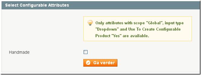 Magento configureerbaar product toevoegen foutmelding