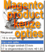 Magento product keuze opties