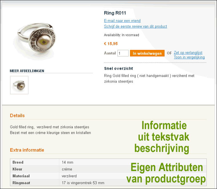 Magento product met attributen