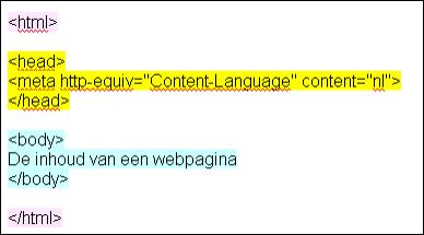 basisindeling html pagina