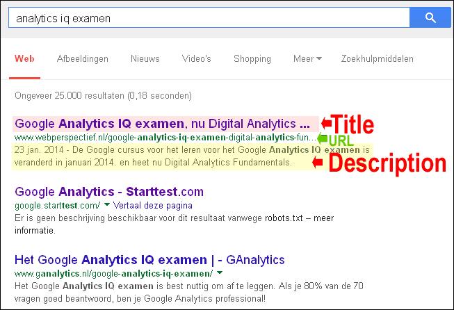 uiterlijk in het zoekresultaat bij google