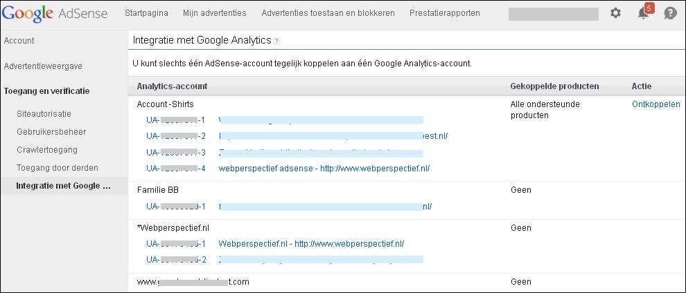 Google AdSense beheer Analytics koppeling