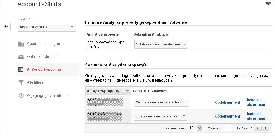 Google Analytics beheer AdSense