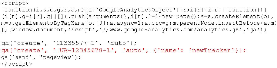 Universal Analytics tracking code met twee properties
